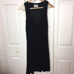 Black Dress Ruffle Vneck Midi Length